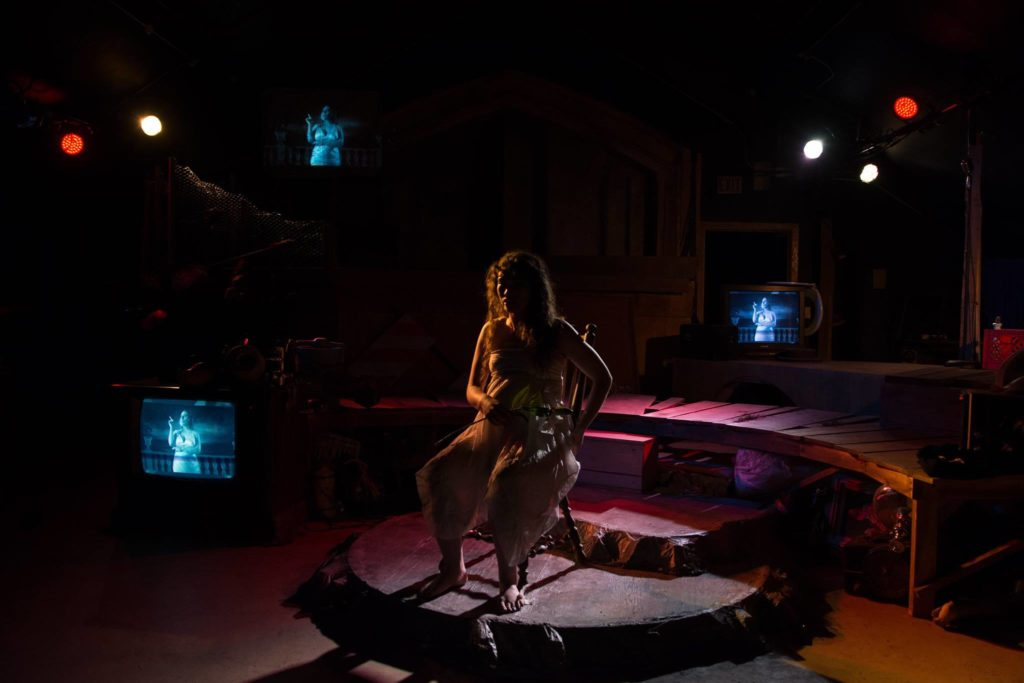 Estrella Cruz [the junkyard queen] at Halcyon Theatre. photo by Tom McGrath
